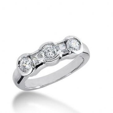 950 Platinum Diamond Anniversary Wedding Ring 2 Princess Cut, 3 Round Brilliant Diamonds 0.94ctw 253WR1113PLT