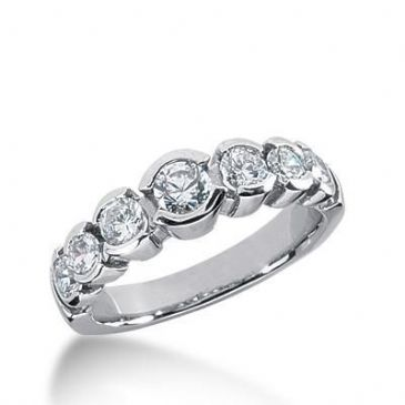 18K Gold Diamond Anniversary Wedding Ring 7 Round Brilliant Diamonds 1.03ctw 254WR111418K