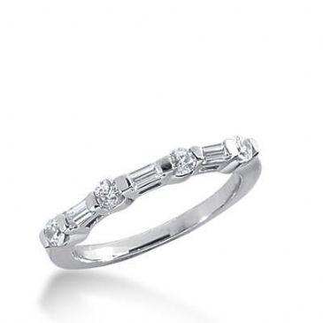 18K Gold Diamond Anniversary Wedding Ring 4 Round Brilliant, 3 Straight Baguette Diamonds 0.45ctw 255WR111618K