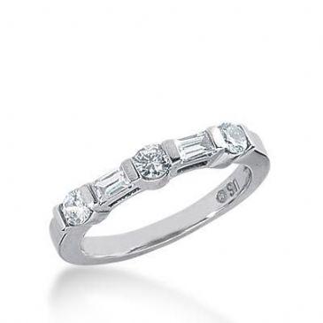 18K Gold Diamond Anniversary Wedding Ring 3 Round Brilliant, 2 Straight Baguette Diamonds 0.56ctw 256WR111718K