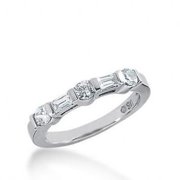 950 Platinum Diamond Anniversary Wedding Ring 3 Round Brilliant, 2 Straight Baguette Diamonds 0.56ctw 256WR1117PLT