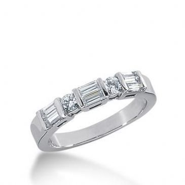 18K Gold Diamond Anniversary Wedding Ring 2 Round Brilliant, 6 Straight Baguette Diamonds 0.64ctw 258WR111918K