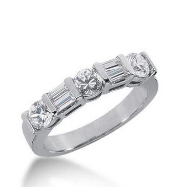 18K Gold Diamond Anniversary Wedding Ring 3 Round Brilliant, 4 Straight Baguette Diamonds 1.00ctw 259WR112018K