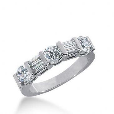 18K Gold Diamond Anniversary Wedding Ring 3 Round Brilliant, 4 Straight Baguette Diamonds 1.26ctw 260WR112118K