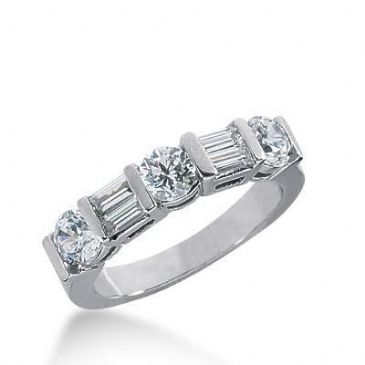 950 Platinum Diamond Anniversary Wedding Ring 3 Round Brilliant, 4 Straight Baguette Diamonds 1.26ctw 260WR1121PLT