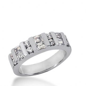 18K Gold Diamond Anniversary Wedding Ring 8 Round Brilliant, 6 Straight Baguette Diamonds 0.88ctw 261WR112218K