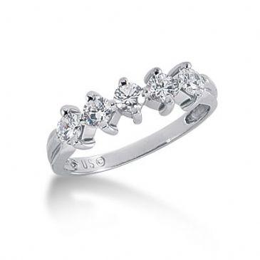 950 Platinum Diamond Anniversary Wedding Ring 5 Round Brilliant Diamonds 0.75ctw 100WR1395PLT