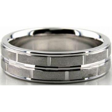 Platinum 950 7mm Diamond Cut Wedding Band 682