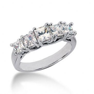 18K Gold Diamond Anniversary Wedding Ring 5 Princess Cut Diamonds 1.85ctw 132WR54018K