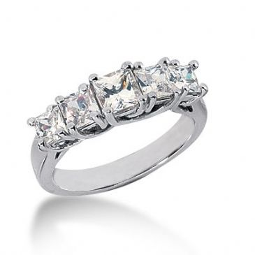 950 Platinum Diamond Anniversary Wedding Ring 5 Princess Cut Diamonds 1.85ctw 132WR540PLT