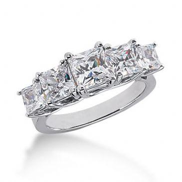 950 Platinum Diamond Anniversary Wedding Ring 5 Princess Cut Diamonds 3.45ctw 133WR564PLT