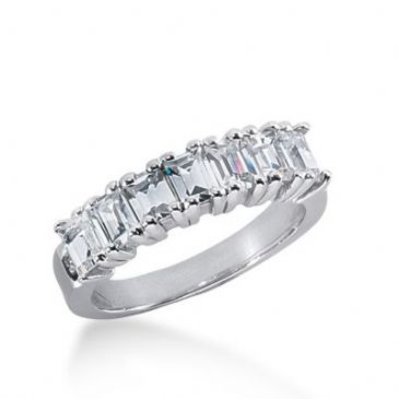 950 Platinum Diamond Anniversary Wedding Ring 7 Emerald Cut Diamonds 1.40ctw 146WR208PLT