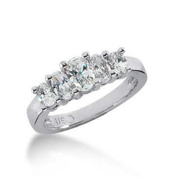 18K Gold Diamond Anniversary Wedding Ring 5 Oval Shaped Diamond 1.40ctw 149WR197018K