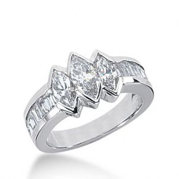 950 Platinum Diamond Anniversary Wedding Ring 3 Marquise Shaped, 6 Straight Baguette Diamonds 1.73ctw 230WR1048PLT