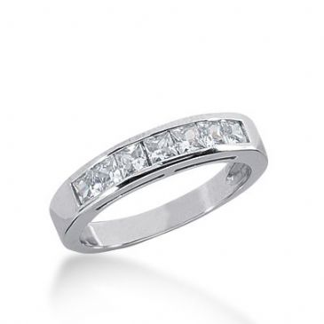 18K Gold Diamond Anniversary Wedding Ring 7 Princess Cut Diamonds 0.70ctw 236WR107818K