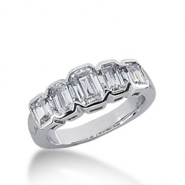 18k Gold Diamond Anniversary Wedding Ring 5 Emerald Cut Diamonds 1.65ctw 240WR108318K
