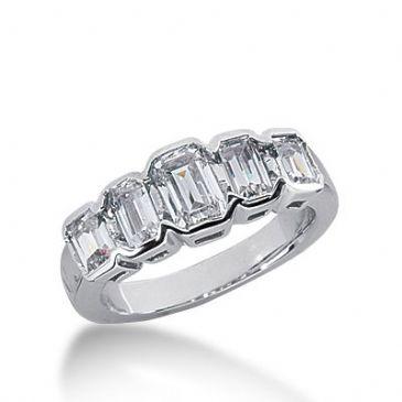 950 Platinum Diamond Anniversary Wedding Ring 5 Emerald Cut Diamonds 1.65ctw 240WR1083PLT