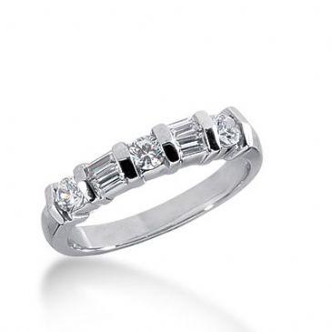 18k Gold Diamond Anniversary Wedding Ring 3 Round Brilliant, 4 Straight Baguette Diamonds 0.58ctw 262WR112318K
