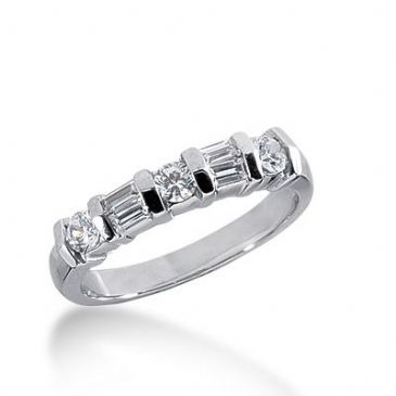 950 Platinum Diamond Anniversary Wedding Ring 3 Round Brilliant, 4 Straight Baguette Diamonds 0.58ctw 262WR1123PLT
