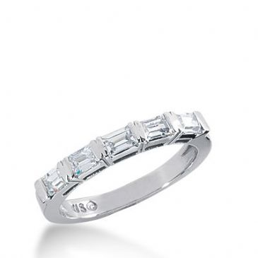 18k Gold Diamond Anniversary Wedding Ring 5 Straight Baguette Diamonds 0.60ctw 263WR112418K
