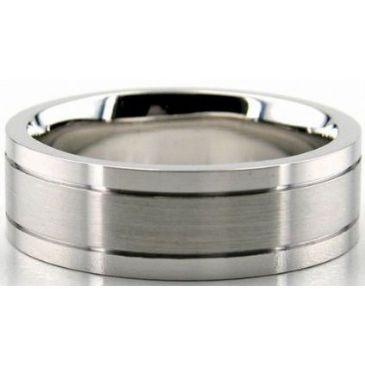 Platinum 950 7mm Diamond Cut Wedding Band 695