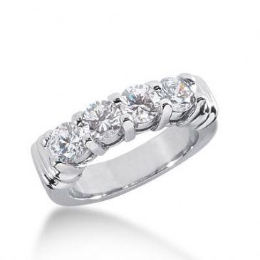 950 Platinum Diamond Anniversary Wedding Ring 4 Round Brilliant Diamonds 1.40ctw 265WR1126PLT
