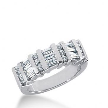 950 Platinum Diamond Anniversary Wedding Ring 12 Round Brilliant, 9 Straight Baguette Diamonds 0.87ctw 266WR1129PLT