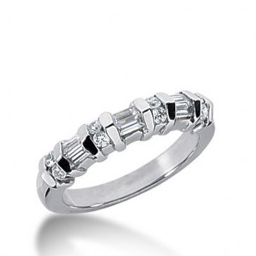 950 Platinum Diamond Anniversary Wedding Ring 8 Round Brilliant, 6 Straight Baguette Diamonds 0.44ctw 269WR1132PLT