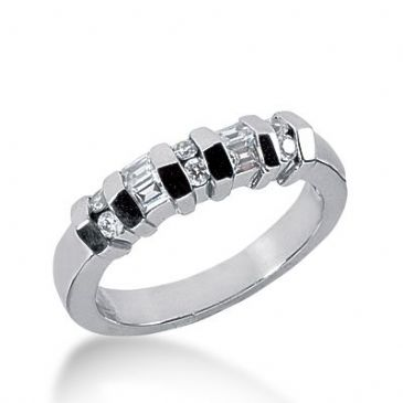 18k Gold Diamond Anniversary Wedding Ring 6 Round Brilliant, 4 Straight Baguette Diamonds 0.35ctw 270WR113318K