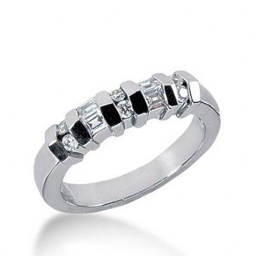 18k Gold Diamond Anniversary Wedding Ring 6 Round Brilliant, 4 Straight Baguette Diamonds 0.35ctw 270WR113318K