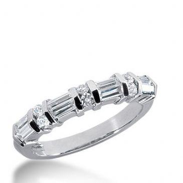 18k Gold Diamond Anniversary Wedding Ring 6 Round Brilliant, 8 Straight Baguette Diamonds 0.82ctw 271WR113418K
