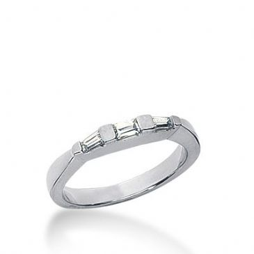 18k Gold Diamond Anniversary Wedding Ring 1 Straight Baguette, 2 Tapered Baguette Diamonds 0.19ctw 272WR113518K