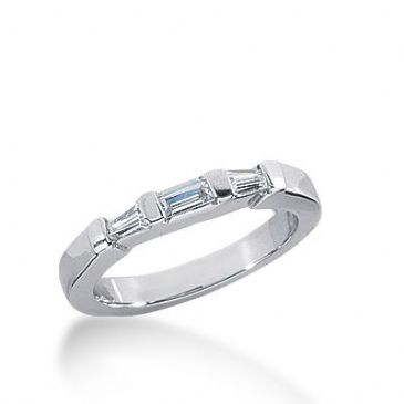 18k Gold Diamond Anniversary Wedding Ring 1 Straight Baguette, 2 Tapered Baguette Diamonds 0.21ctw 273WR113618K