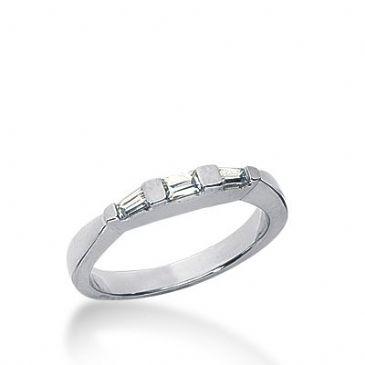 950 Platinum Diamond Anniversary Wedding Ring 1 Straight Baguette, 2 Tapered Baguette Diamonds 0.21ctw 273WR1136PLT