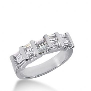 18k Gold Diamond Anniversary Wedding Ring 10 Straight Baguette Diamonds 1.04ctw 274WR115018K