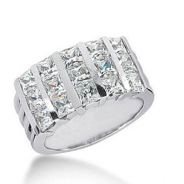 18k Gold Diamond Anniversary Wedding Ring 15 Princess Cut Diamonds 2.55ctw 276WR115218K
