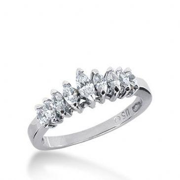 18k Gold Diamond Anniversary Wedding Ring 9 Marquise Shaped Diamonds 1.30ctw 277WR118018K