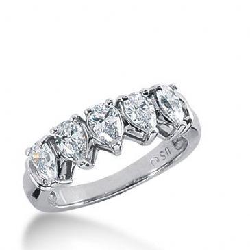 950 Platinum Diamond Anniversary Wedding Ring 5 Pear Shaped Diamonds 1.60ctw 278WR1181PLT