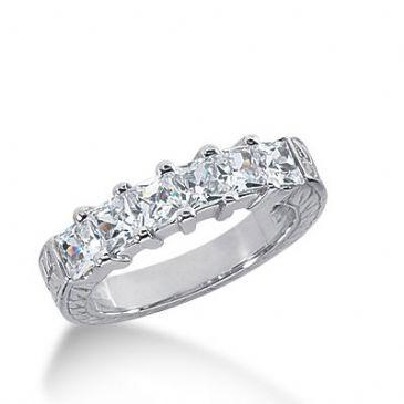18k Gold Diamond Anniversary Wedding Ring 6 Princess Cut Diamonds 1.62ctw 279WR121418K