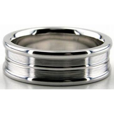 Platinum 950 7mm Diamond Cut Wedding Band 640