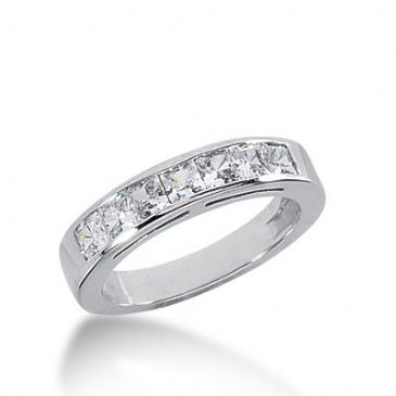 18k Gold Diamond Anniversary Wedding Ring 7 Princess Cut Diamonds 0.98ctw 284WR132818K