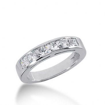 950 Platinum Diamond Anniversary Wedding Ring 7 Princess Cut Diamonds 0.98ctw 284WR1328PLT
