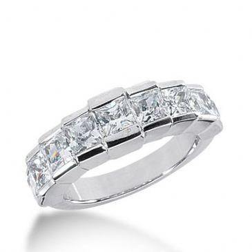 950 Platinum Diamond Anniversary Wedding Ring 7 Princess Cut Diamonds 2.14ctw 285WR1330PLT