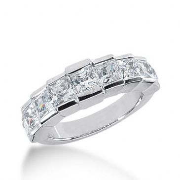 950 Platinum Diamond Anniversary Wedding Ring 9 Princess Cut Diamonds 2.70ctw 286WR1331PLT
