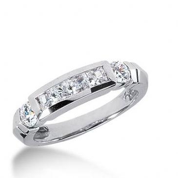 18k Gold Diamond Anniversary Wedding Ring 4 Princess Cut, 2 Round Brilliant Diamonds 1.18ctw 287WR133218K