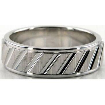Platinum 950 7mm Diamond Cut Wedding Band 687