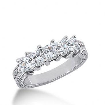 950 Platinum Diamond Anniversary Wedding Ring 5 Princess Cut Diamonds 1.50ctw 288WR1333PLT