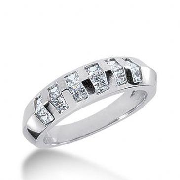 18k Gold Diamond Anniversary Wedding Ring 12 Princess Cut Diamonds 0.84ctw 290WR133518K