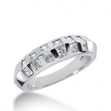 950 Platinum Diamond Anniversary Wedding Ring 12 Princess Cut Diamonds 0.84ctw 290WR1335PLT