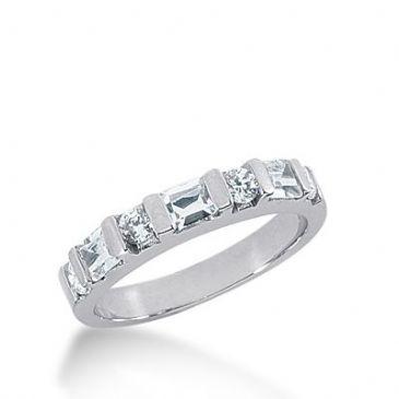 18k Gold Diamond Anniversary Wedding Ring  4 Round Brilliant, 3 Straight Baguette Diamonds 0.76ctw 291WR133618K